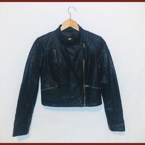 Free People Vegan Moto Biker Black Cropped Jacket